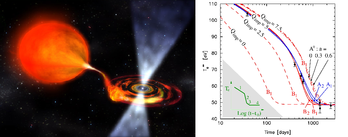 Left: artistic view of an accreting neutron star (NASA). Right: observed temperatures of the neutron star MXB 1659-29 at different times (dots with error bars) vs. theoretical cooling curves [13].
