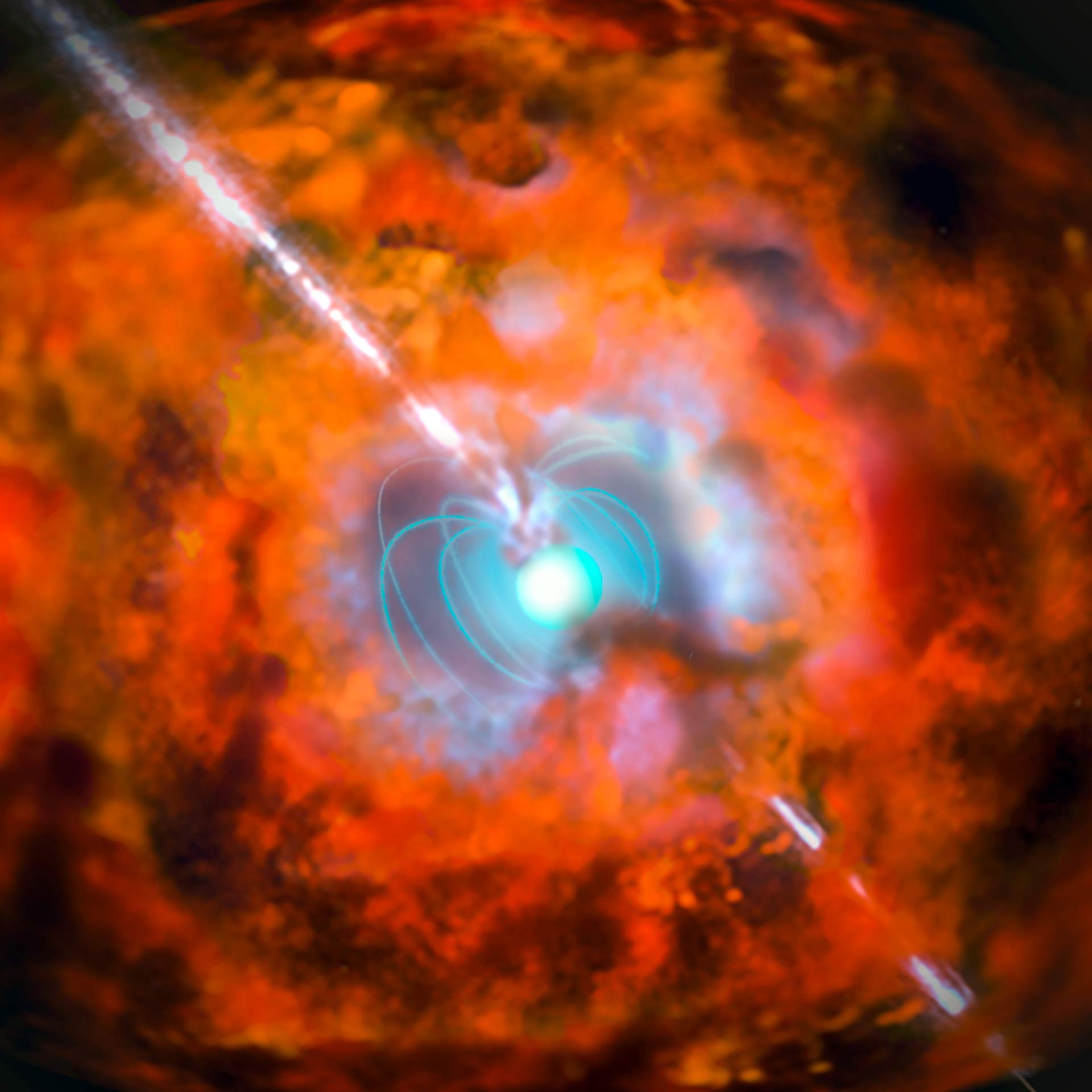 Artist's impression of a supernova and associated gamma-ray burst driven by rapidly spinning magnetar, a neutron star with a very strong magnetic field. Credit: ESO - http://www.eso.org/public/images/eso1527a/