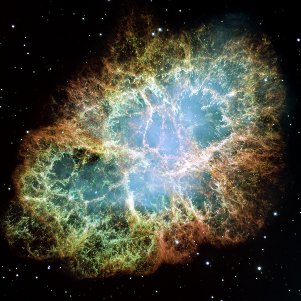 Image of the Crab Nebula obtained with the Hubble Space Telescope (Image Credit: NASA, ESA, J. Hester, A. Loll (ASU)). The Crab Nebula is the leftover of a core-collapse supernova explosion which happened in the year 1054. It is known that a neutron star (the Crab Pulsar) as the compact remnant of the explosion is located in the center.